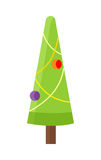 Christmas Tree Isolated on White. Cartoon Fir. Tree in xmas holiday concept. Merry Christmas and Happy New Year poster. Funny winter illustration for children Stock Photos
