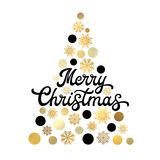 Christmas tree isolated on white with lettering. Royalty Free Stock Photo