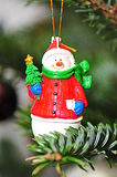 Christmas tree jolly snowman decoration Stock Photos