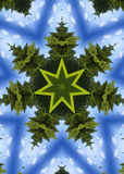 Christmas tree kaleidoscope. Digital kaleidoscope image of a group of trees and sky. Highly detailed. Image is part of a series Royalty Free Stock Photo