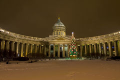 Christmas tree and Kazanskiy cathedral in St. Petersburg Stock Image