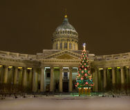 Christmas tree and Kazanskiy cathedral, St. Petersburg Stock Photography