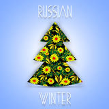 Christmas tree in Khokhloma-style. National Russian handmade Stock Photo