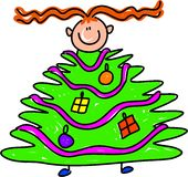 Christmas tree kid Royalty Free Stock Image
