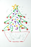 Christmas tree kid draw Stock Images