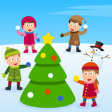 Christmas Tree and Kids stock illustration
