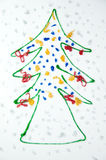 Christmas tree kids draw Royalty Free Stock Photos