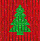 The christmas tree knitted card Stock Photo