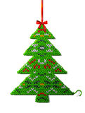 Christmas tree of knitted fabric with ornament Stock Image