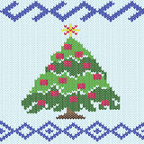 Christmas tree with knitting ornate details Royalty Free Stock Images