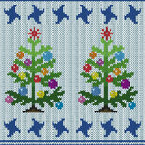 Christmas tree on knitting seamless pattern Royalty Free Stock Images