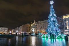 Christmas tree in Krakow old town, Poland. Stock Photo