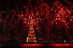 Christmas Tree Lagoa Rodrigo de Freitas is inaugurated with fireworks Stock Images