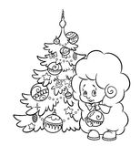 Christmas tree and lamb coloring page Royalty Free Stock Photos