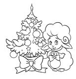 Christmas tree lamb coloring page Stock Image