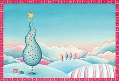 Christmas tree landscape illustration Stock Photo