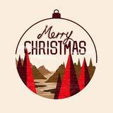 Christmas tree landscape. With merry christmas message. Vector Illustration Stock Images