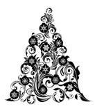 Christmas Tree Leaf Swirls Design and Ornaments royalty free illustration