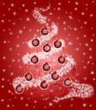 Christmas Tree Leaf Swirls Sparkles Ornaments Red stock illustration