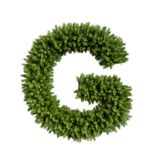 Christmas tree letter G. Christmas alphabet ABC character letter G font. Christmas tree branches capital letters decoration type. Highly realistic 3d rendering stock illustration
