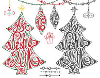 2016.Christmas tree.Lettering,balls,garlands. Christmas tree,New year 2016 lettering.Hand drawn doodle decoration with ball, garlands,handwriting quotes.Holiday stock illustration