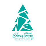 Christmas tree-04. Christmas tree with lettering isolated on white background. Design element for greeting cards or flyers. Xmas illustration Royalty Free Illustration