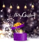 Christmas tree light background. Vector on dark with handwritten Merry Christmas and open gift box with fireworks and retro light bulbs Stock Photography