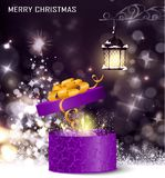 Christmas tree light background. Vector on dark with handwritten Merry Christmas and open gift box with fireworks Stock Images