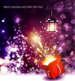 Christmas tree light background. Vector on dark with handwritten Merry Christmas and open gift box with fireworks Royalty Free Stock Images