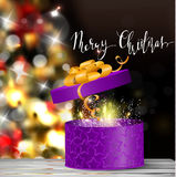 Christmas tree light background. Vector on dark with handwritten Merry Christmas and open gift box with fireworks Royalty Free Stock Photo