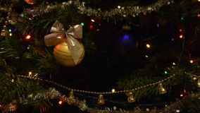 Christmas tree light and balls. Christmas and New Year tree with decorations and illumination. stock video footage