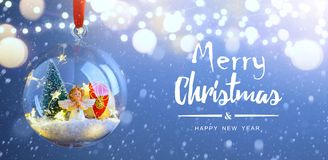 Christmas tree light; Blue Snowy winter Christmas Landscape. Art Christmas tree light; Blue Snowy winter Christmas Landscape stock photos