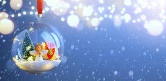 Christmas tree light; Blue Snowy winter Christmas Landscape. Art Christmas tree light; Blue Snowy winter Christmas Landscape royalty free stock photography