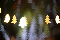 Christmas tree light bokeh. Star light bokeh, abstracts background, backdrop, celebrate, sparkle, Christmas, colorful, xmas, party stock photography