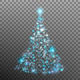Christmas tree from light and bokeh. EPS 10 vector Royalty Free Stock Photo