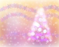 Christmas tree light bokeh and snow background with snowflake wreathe. Stock Image