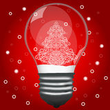 Christmas tree in a light bulb. Royalty Free Stock Photos