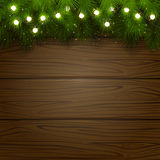 Christmas tree and light bulbs. Wooden background with branches of Christmas tree and light bulbs, illustration Stock Image