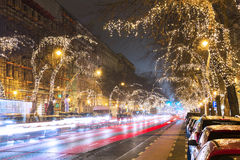 Christmas Tree Light On Central Street in Budapest Royalty Free Stock Image