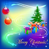 Christmas tree with light decoration and the text Merry Christmas, abstract. Vector illustration Stock Photos