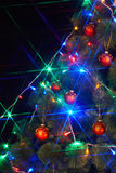 Christmas  tree with light and flash. Royalty Free Stock Photos