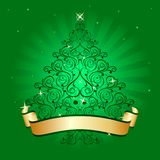 Christmas tree light green. Gold christmas tree on green background royalty free illustration