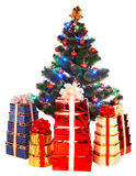 Christmas tree with light and group gift box. Stock Photography