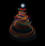 Christmas tree with light painting Royalty Free Stock Photo