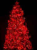 Christmas tree with light and red ball. Royalty Free Stock Photography