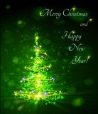 Christmas tree from light Stock Images