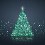Christmas tree from light vector background. Stylized green Christmas tree silhouette from art circle vector background. EPS10 Royalty Free Stock Image