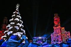 Kaunas, Lithuania - December 1, 2018: Christmas Tree Lighting. royalty free stock images