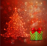 Christmas tree lighting and gift against celebration bokeh red background and space for your text, vector & illustration Stock Photos
