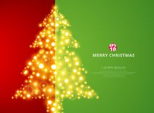Christmas tree lighting on green red background with copy space. Vector illustration Royalty Free Stock Photos